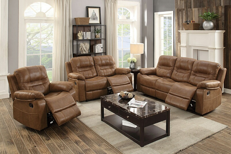 F6646-47 2 pc Carlsbad collection dark brown breathable leatherette upholstered sofa and love seat set with reclining ends