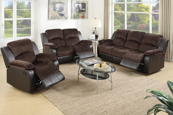 F6695-96 2 pc Samantha II collection tow tone chocolate padded suede and vinyl upholstered sofa and love seat set with reclining ends