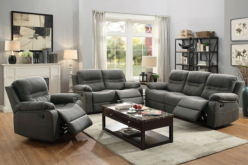 F6698-99 2 pc Carlsbad collection slate blue breathable leatherette upholstered sofa and love seat set with reclining ends