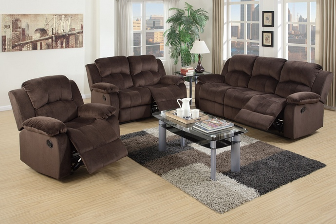 F6711-12 2 pc Samantha collection chocolate padded suede fabric upholstered sofa and love seat set with reclining ends