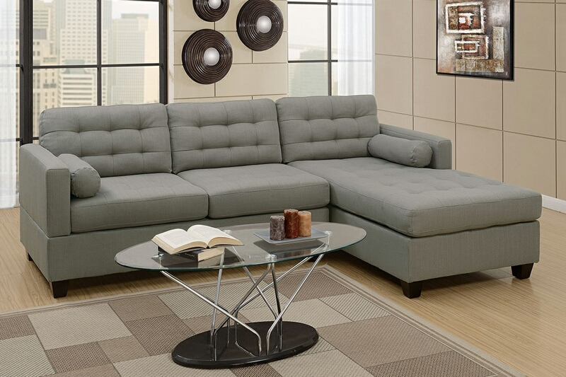 F7564 2 pc Manhattan collection grey linen like fabric upholstered sectional sofa with reversible chaise