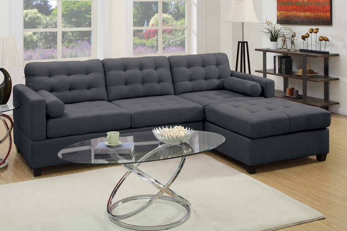 F7587 2 pc Manhattan collection reversible slate black linen like fabric upholstered sectional sofa with reversible chaise