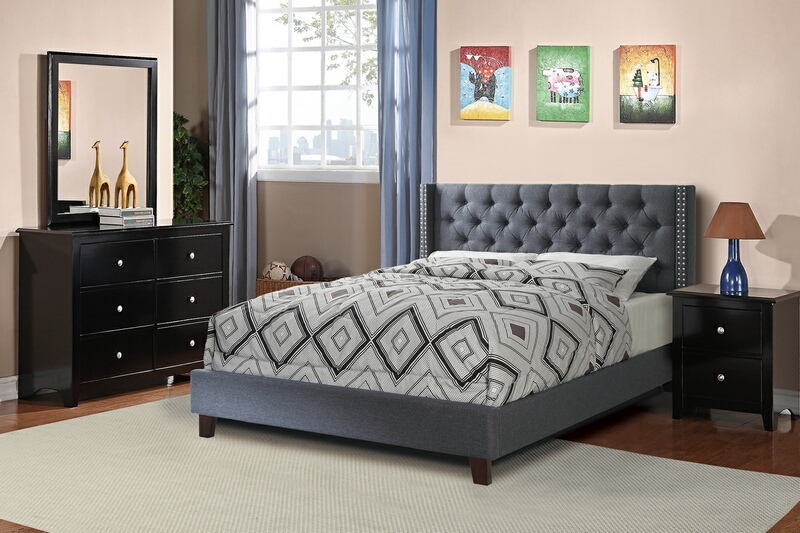 F9371Q 4 pc Janelle collection blue grey faux linen tufted upholstered queen bed set