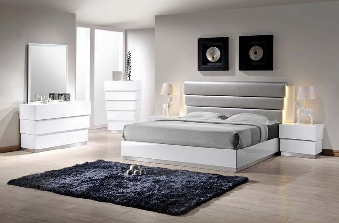 Florence 5 pc Florence collection modern style queen bedroom set with white lacquer finish