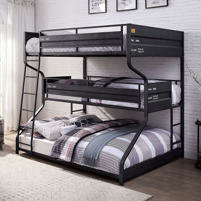 FOA-BK653 Lodida black finish metal industrial style full over twin over queen triple bunk bed set