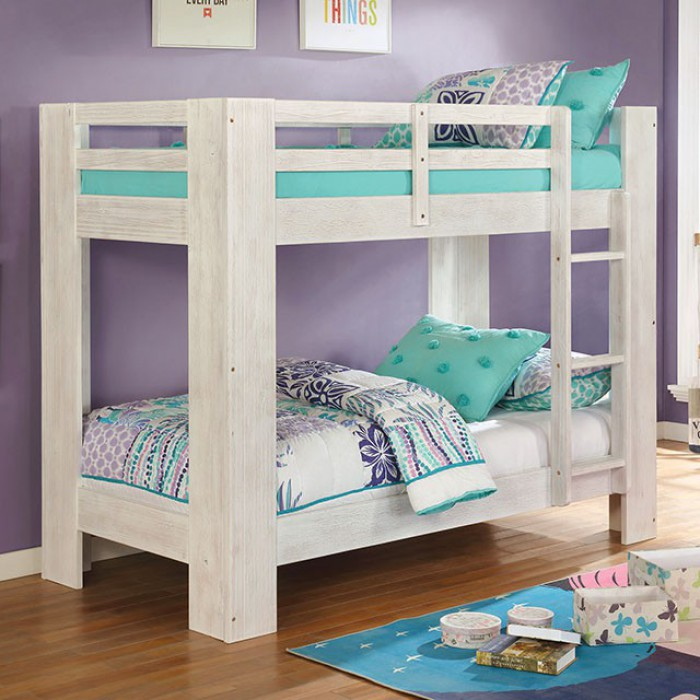 FOA-BK972WH Suzie white wire brushed finish wood twin over twin bunk bed with wide posts