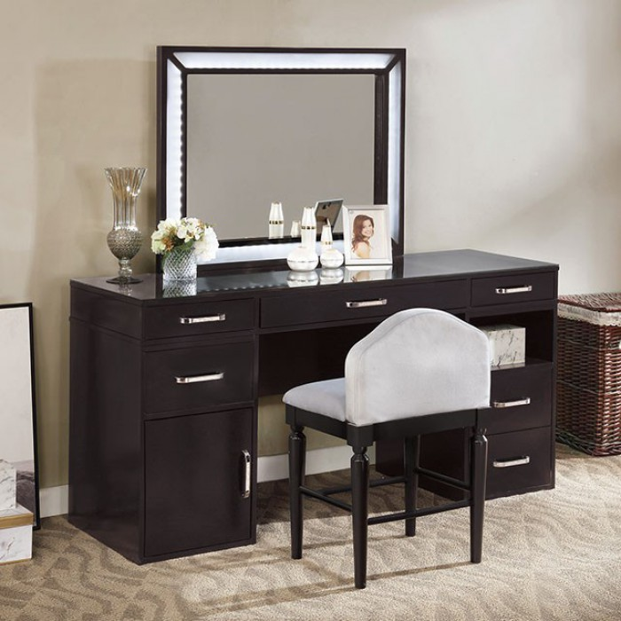 FOA-DK5684DG 3 pc Rosdorf park sheffield vickie obsidian gray finish wood make up bedroom vanity set