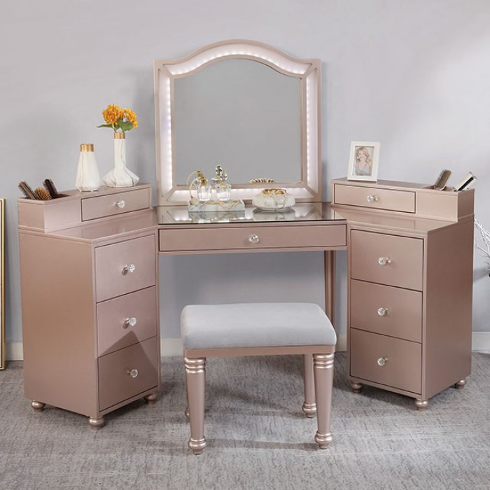 FOA-DK5686PK 3 pc Rosdorf park sheffield tracie tiffany blush finish wood corner make up bedroom vanity set
