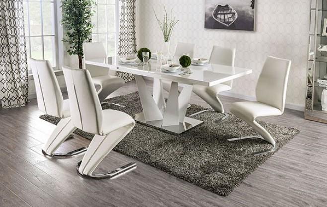 FOA3742T-7PC 7 pc Latitude run grahame zain white high gloss finish wood dining table set