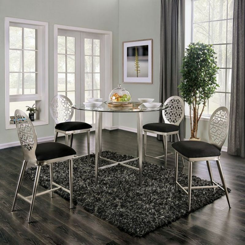 FOA3743PT-5PC 5 pc Trent austin design abner brushed steel and glass counter height dining table set