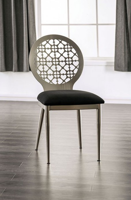 FOA3743SC 2 pc Towson abner modern style silver metal dining chairs