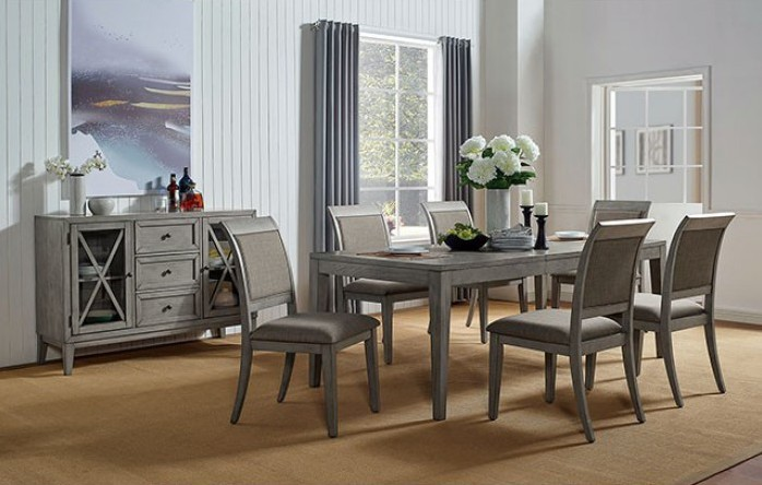 FOA3785T 7 pc Canora grey mel marla gray finish wood dining table set
