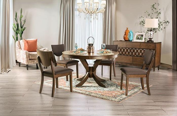 """FOA3787RT 5 pc Canora grey mel marina walnut finish wood 54"""" round dining table set"""