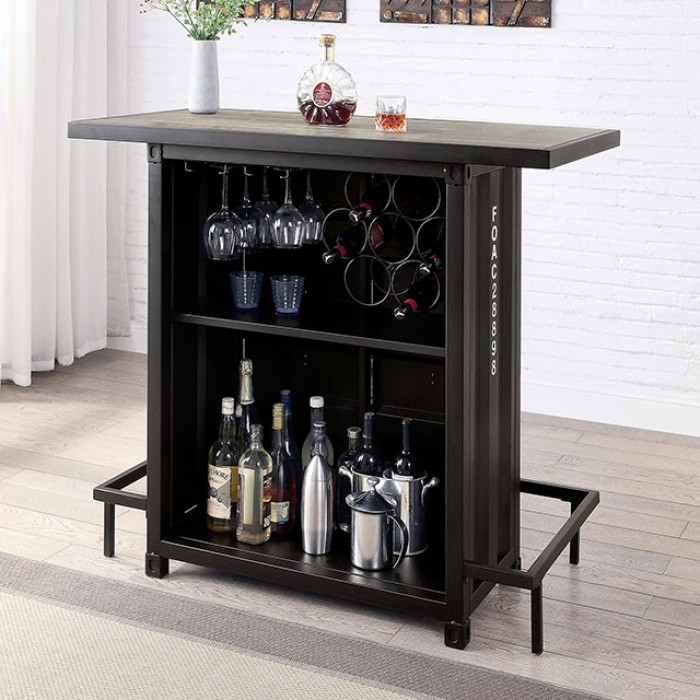 CM3789BK-BT 17 stories fonthills dicarda container style distressed walnut wood black metal bar unit with storage behind