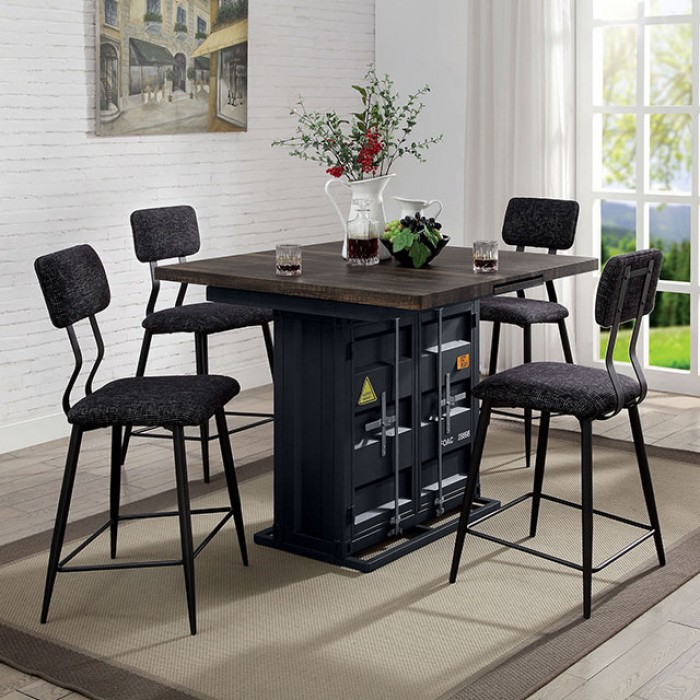 FOA3791PT-5PC 5 pc 17 stories fonthills esdargo container style distressed rak oak wood black metal counter height dining table set