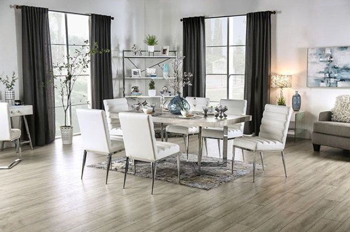 FOA3798T 7 pc Canora grey mel sindy light gray finish wood chrome metal legs dining table set
