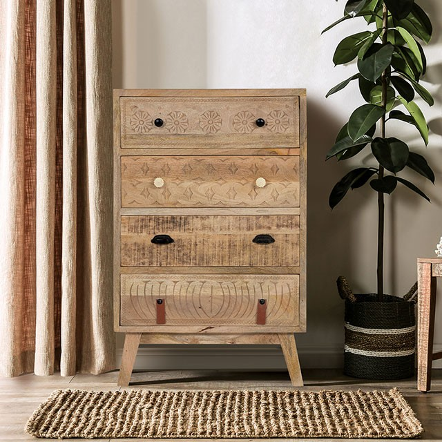 FOA51010 Union rustic thayer Blanchefleur weathered rustic natural tone finish wood chest with drawers