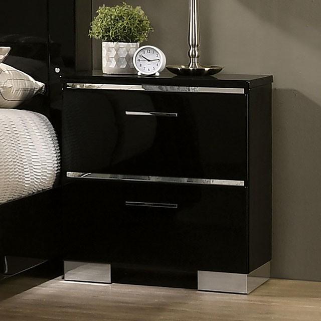 FOA7039N Red barrell studio lidya carlie high gloss black finish wood modern nightstand