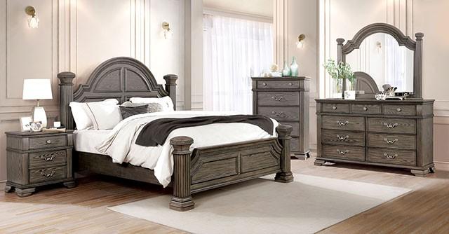 FOA7144GY 4 pc Canora grey ortiz pamphilos elegant style antique grey finish wood queen bedroom set