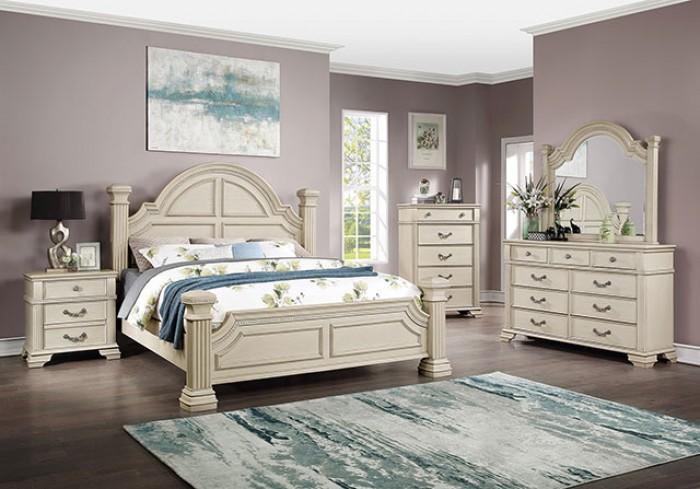 FOA7144WH 4 pc Canora grey ortiz pamphilos elegant style antique white finish wood queen bedroom set