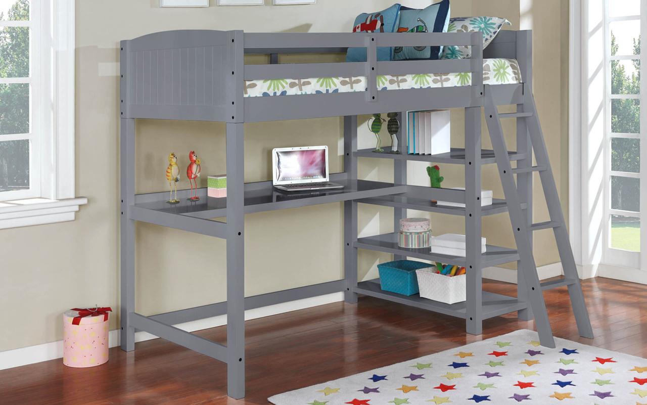 Parker-grey Hokku designs dorena grey finish wood twin loft bunk bed with workstation and shelves