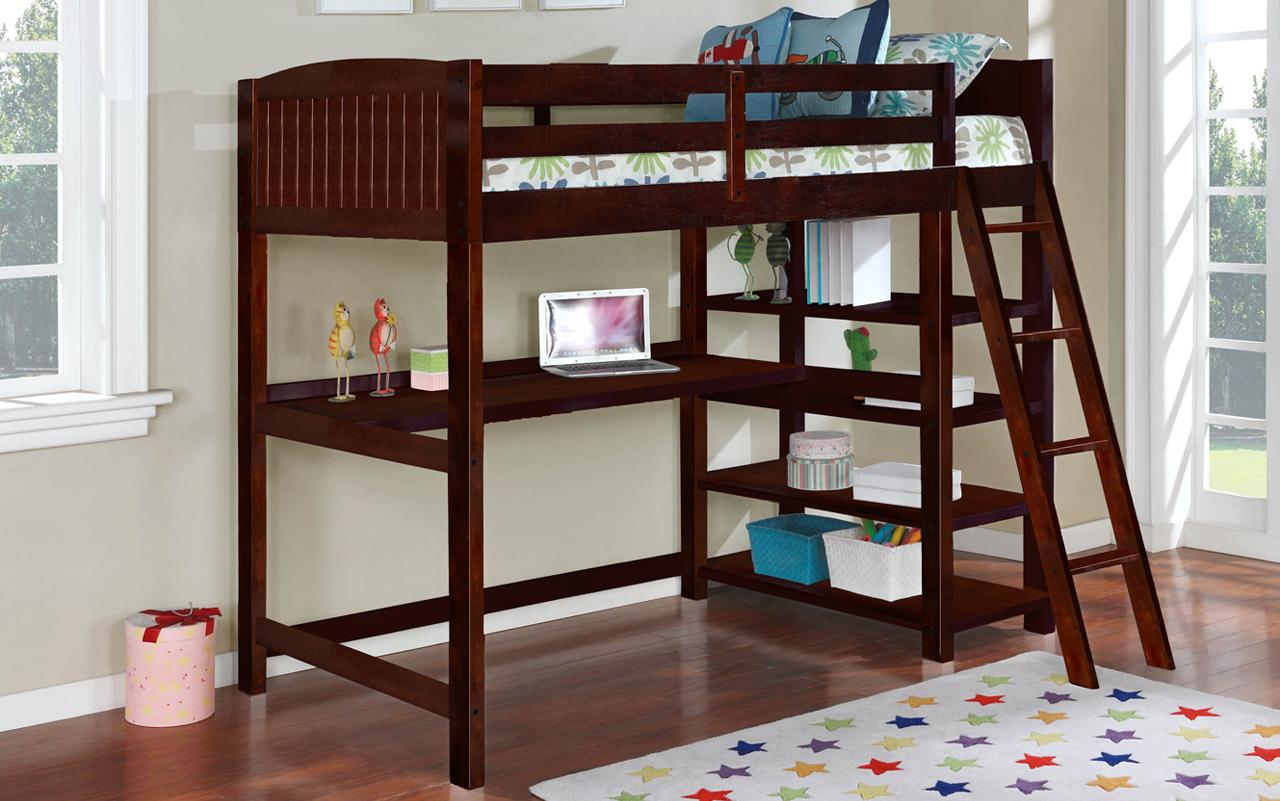 Parker-Java Hokku designs dorena java finish wood twin loft bunk bed with workstation and shelves