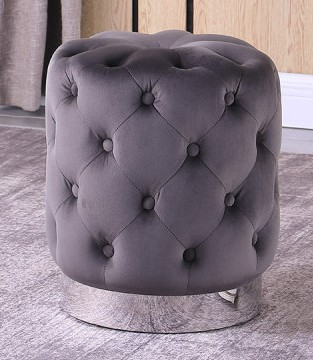 Best Master JO002-GY Dalvik grey velour fabric round tufted ottoman footstool with stainless steel trim