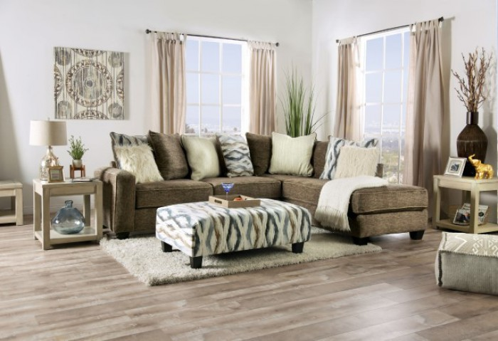 SM5155 2 pc Hokku designs kempston brown textured patterned fabric sectional sofa with chaise