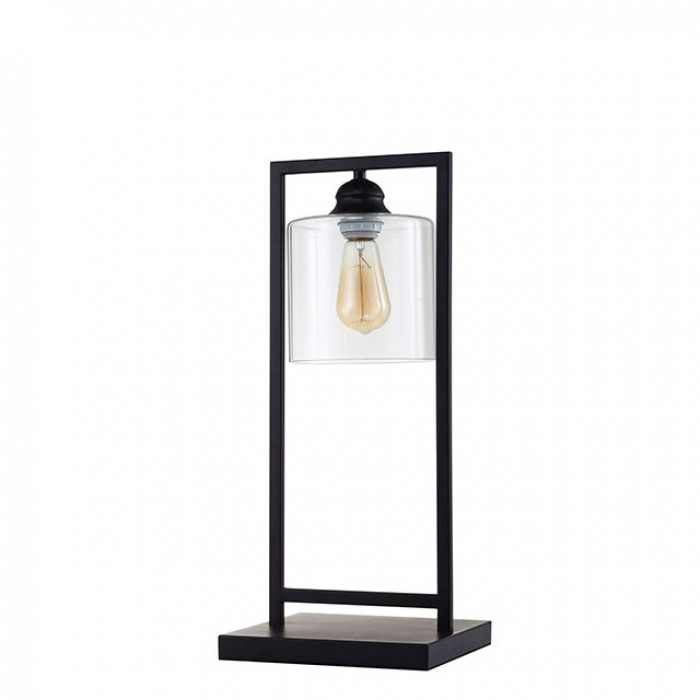 L731201 Zoe black metal contemporary industrial style transparent shade table lamp