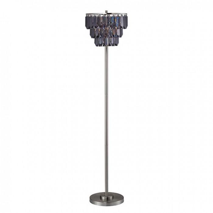 L76937F Meg black chrome metal transitional style hanging crystal floor lamp