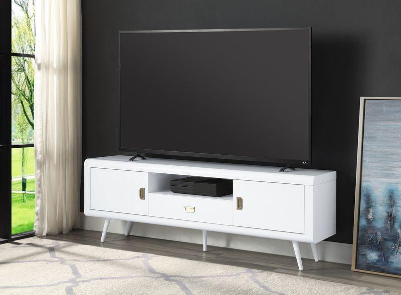 Acme LV00745 George oliver pagan mid century retro modern white finish wood tv stand