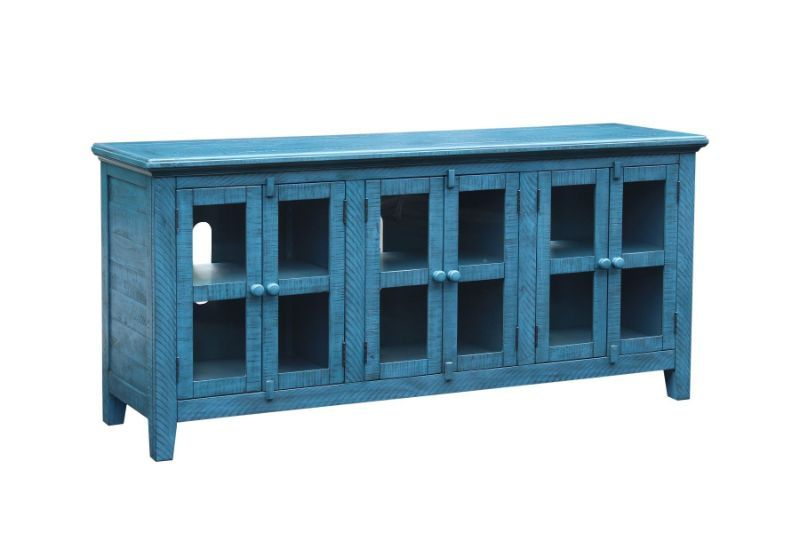 VH-9606  August grove geers athena antique blue finish wood entertainment center TV stand
