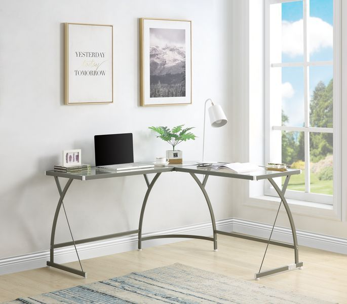 Acme OF00051 Mercer 41 micah janison clear glass and silver metal finish frame corner desk