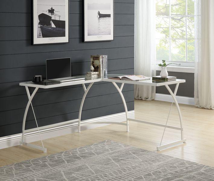 Acme OF00052 Mercer 41 micah janison clear glass and white metal finish frame corner desk