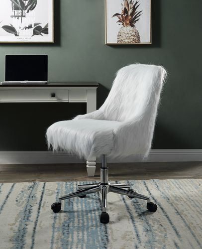 Acme OF00122 Everly quinn arundell II white faux fur fabric office chair