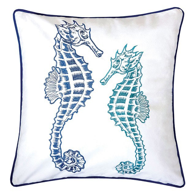 """PL8077 Set of 2 Lorrie white and blue fabric nautical themed double seahorse 20"""" x 20"""" throw pillows"""