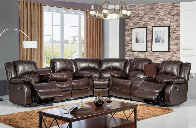 Mc-Ferran SF3592-3PC 3 pc Red barrell studio hattie brown faux leather white accented stitching and recliner ends sectional sofa