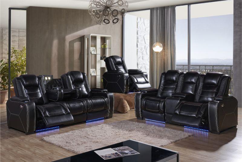 Mc-Ferran MF-SF3816-2PC 2 pc Starla black premium leather air power reclining sofa and love seat set