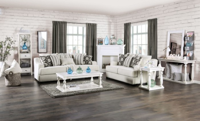 SM1226 2 pc Canora grey lovelle horwich cream linen like fabric sofa and love seat set