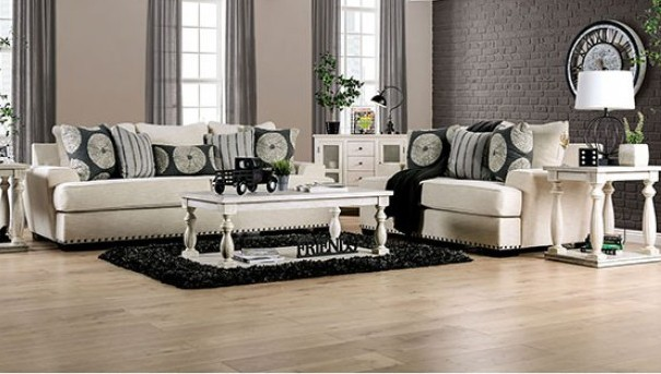 SM1283 2 pc Germaine ivory chenille fabric sofa and love seat set