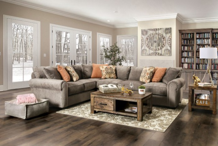 SM1289 2 pc Stapleford gray chenille fabric sectional sofa set with featherblend cushions