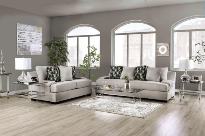 SM1292 2 pc Charlton home reigate light gray chenille fabric sofa and love seat set
