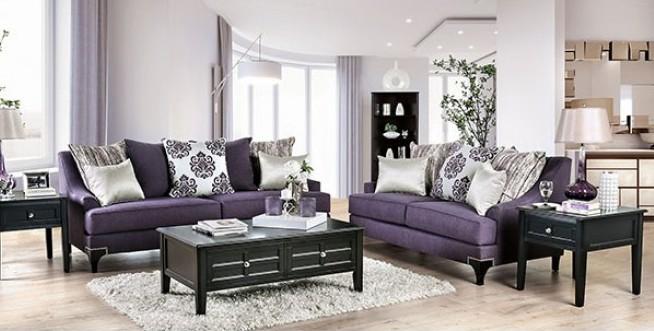SM2208 2 pc Sisseton purple chenille fabric sofa and love seat set