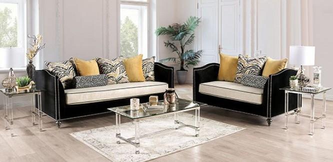 SM2285 2 pc Rosdorf park myra maya black and beige plush microfiber fabric sofa and love seat set