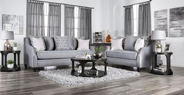 SM2670 2 pc Canora grey lovelle nefyn grey burlap weave fabric sofa and love seat set