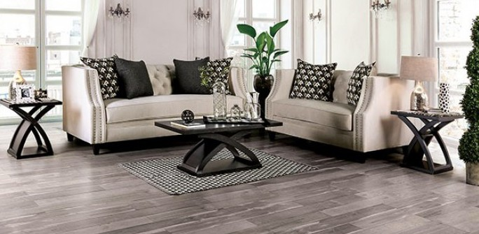 SM2683 2 pc Rosdorf park mylor aniyah beige velvet like fabric fabric sofa and love seat set