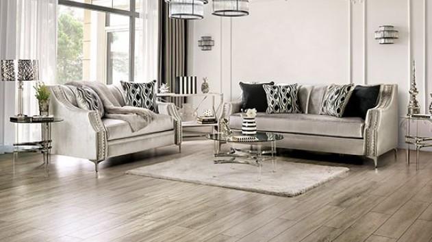 SM2686 2 pc Rosdorf park myra elicia silver chenille fabric sofa and love seat set