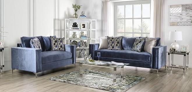 SM2687 2 pc Rosdorf park myra jodie satin blue plush microfiber fabric sofa and love seat set
