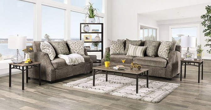 SM3082 2 pc Rosdorf park myra laila gray chenille fabric sofa and love seat set