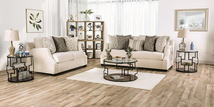SM3083 2 pc Rosdorf park myra laila ivory chenille fabric sofa and love seat set